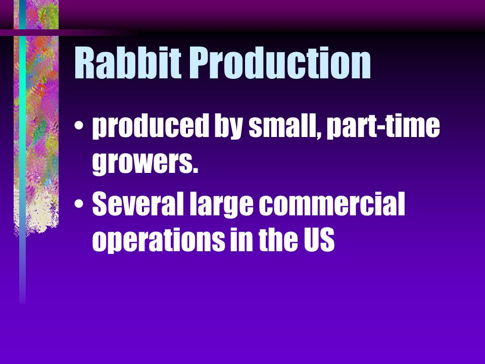 Rabbit Production produced by small, part-time growers.