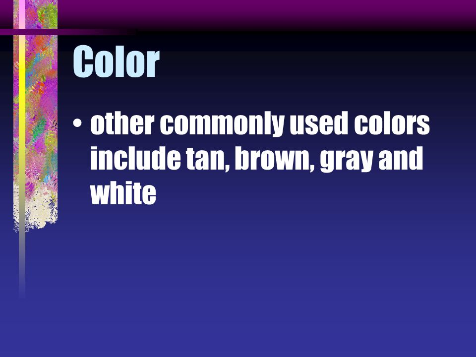 Color other commonly used colors include tan, brown, gray and white