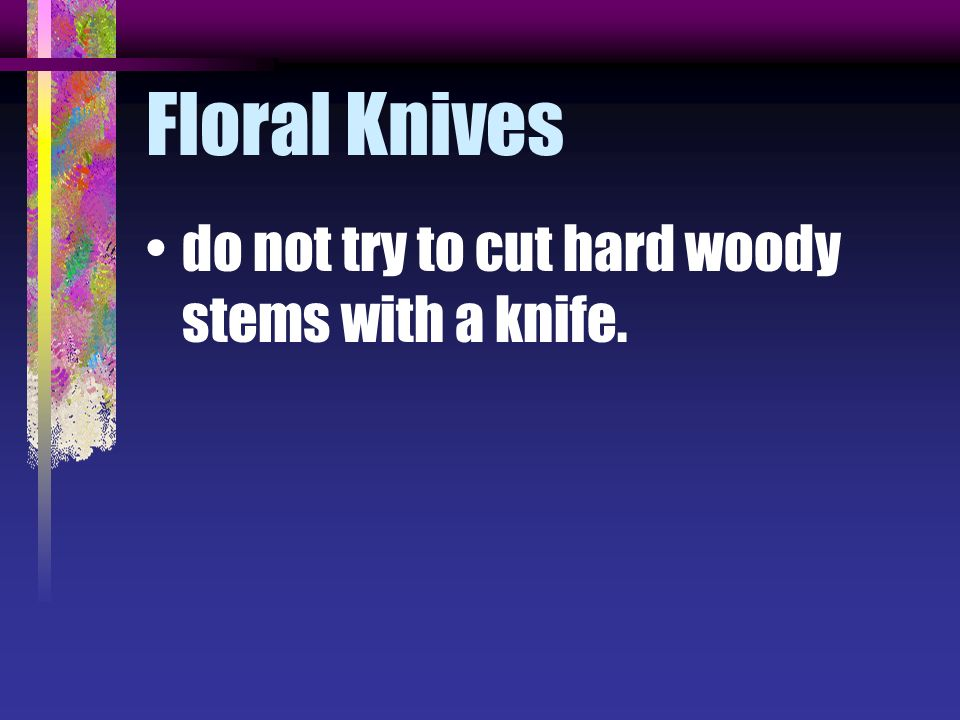Floral Knives do not try to cut hard woody stems with a knife.