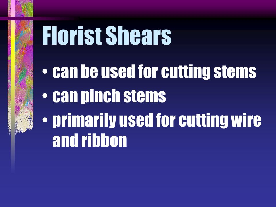 Florist Shears can be used for cutting stems can pinch stems