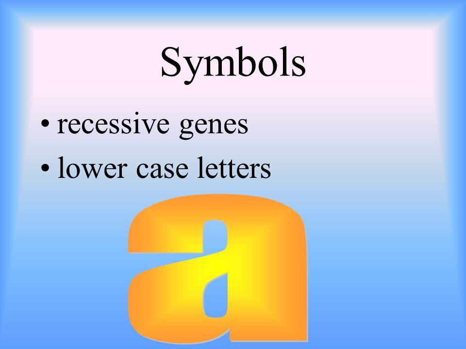 Symbols recessive genes lower case letters a