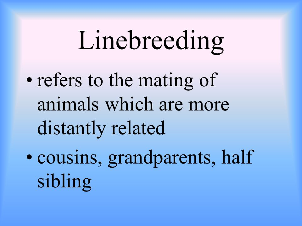 Linebreedingrefers to the mating of animals which are more distantly related.