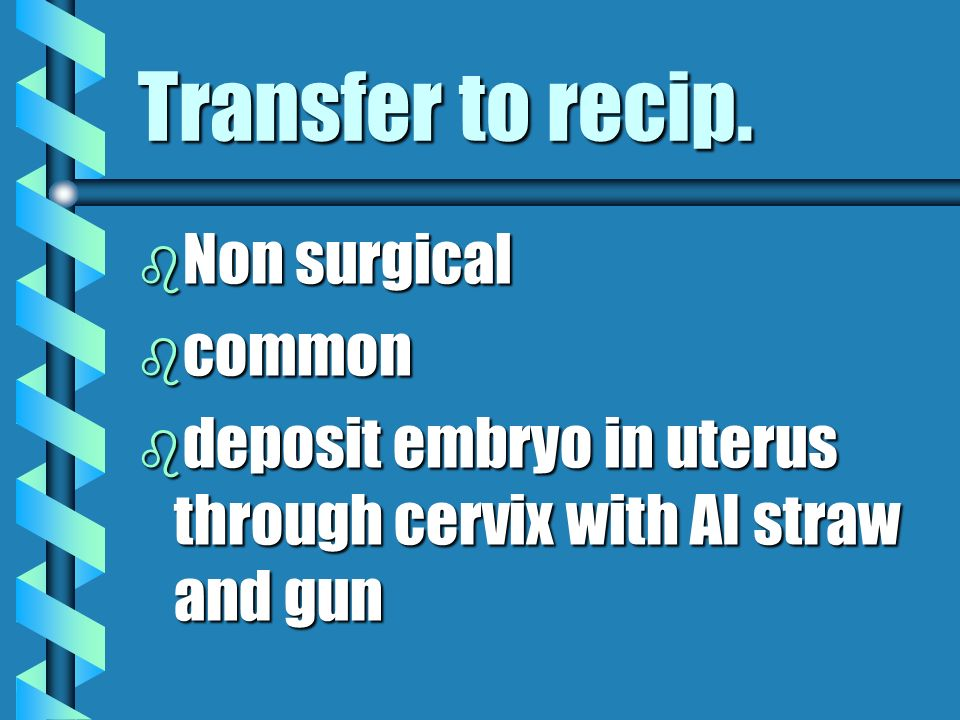 Transfer to recip. Non surgical common