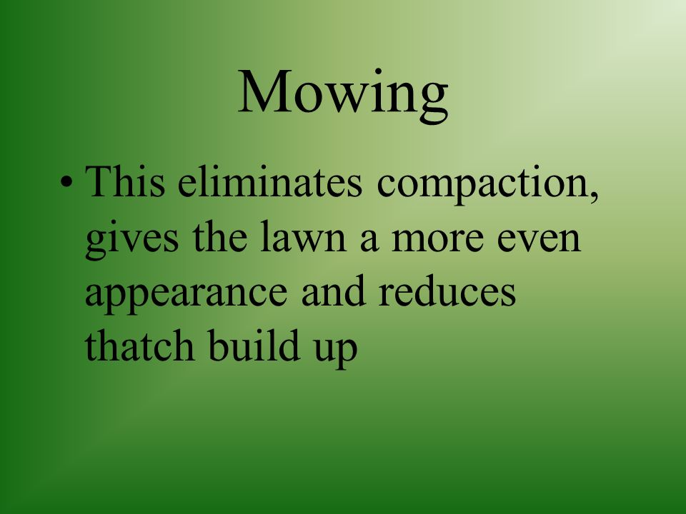 Mowing This eliminates compaction, gives the lawn a more even appearance and reduces thatch build up.