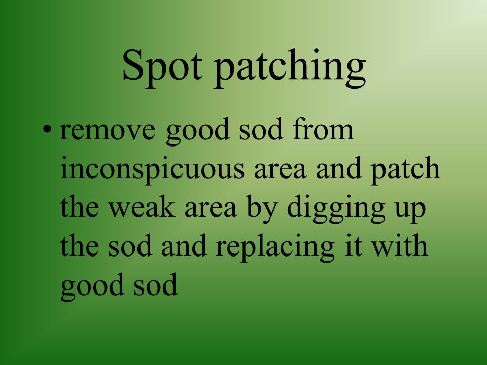 Spot patching remove good sod from inconspicuous area and patch the weak area by digging up the sod and replacing it with good sod.