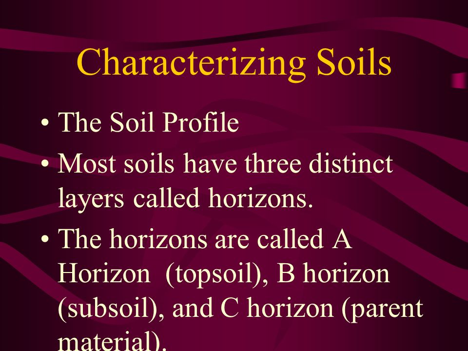 Characterizing Soils The Soil Profile