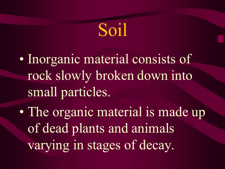 Soil Inorganic material consists of rock slowly broken down into small particles.