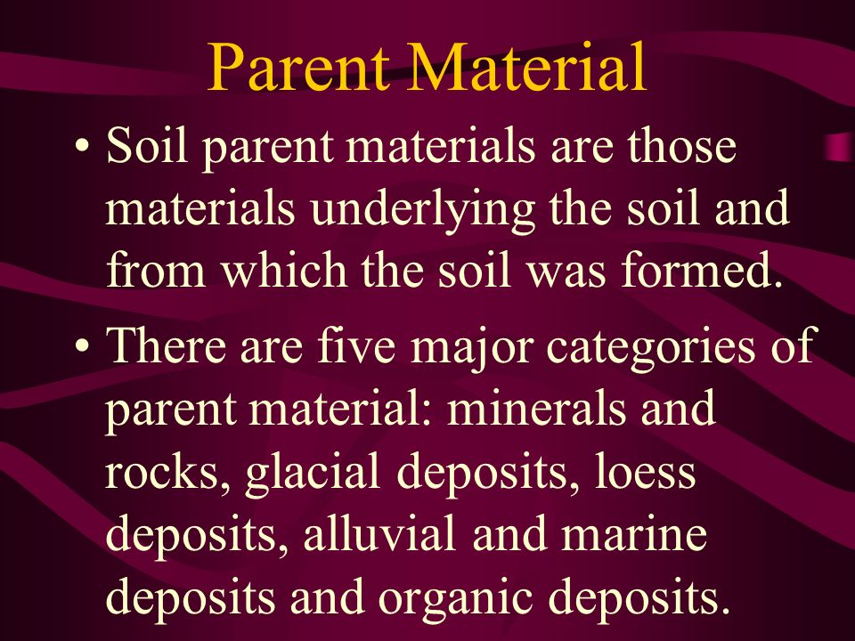 Parent Material Soil parent materials are those materials underlying the soil and from which the soil was formed.