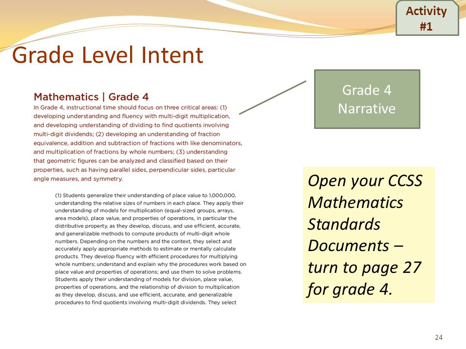 Activity #1Grade Level Intent. Grade 4 Narrative. Open your CCSS Mathematics Standards Documents – turn to page 27 for grade 4.