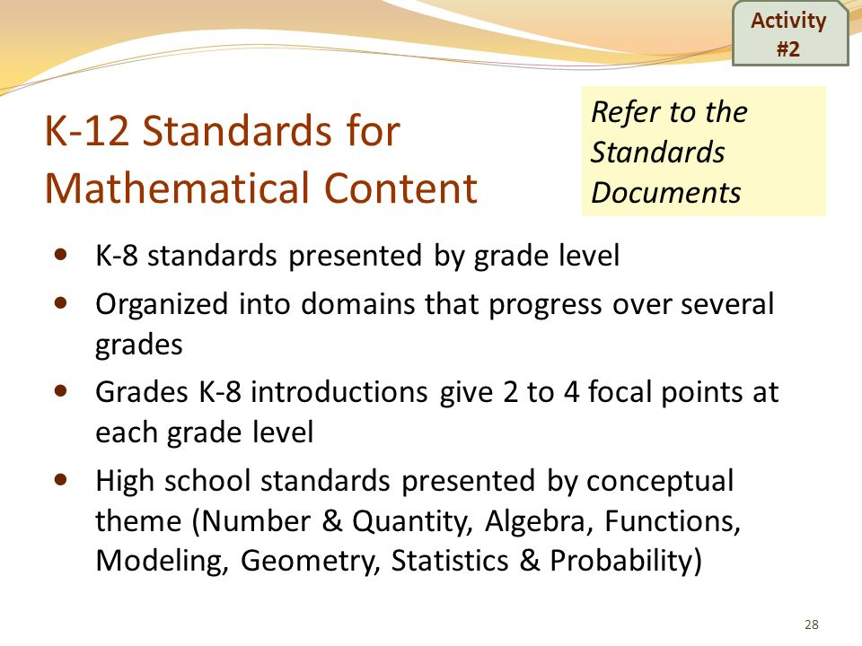 K-12 Standards for Mathematical Content