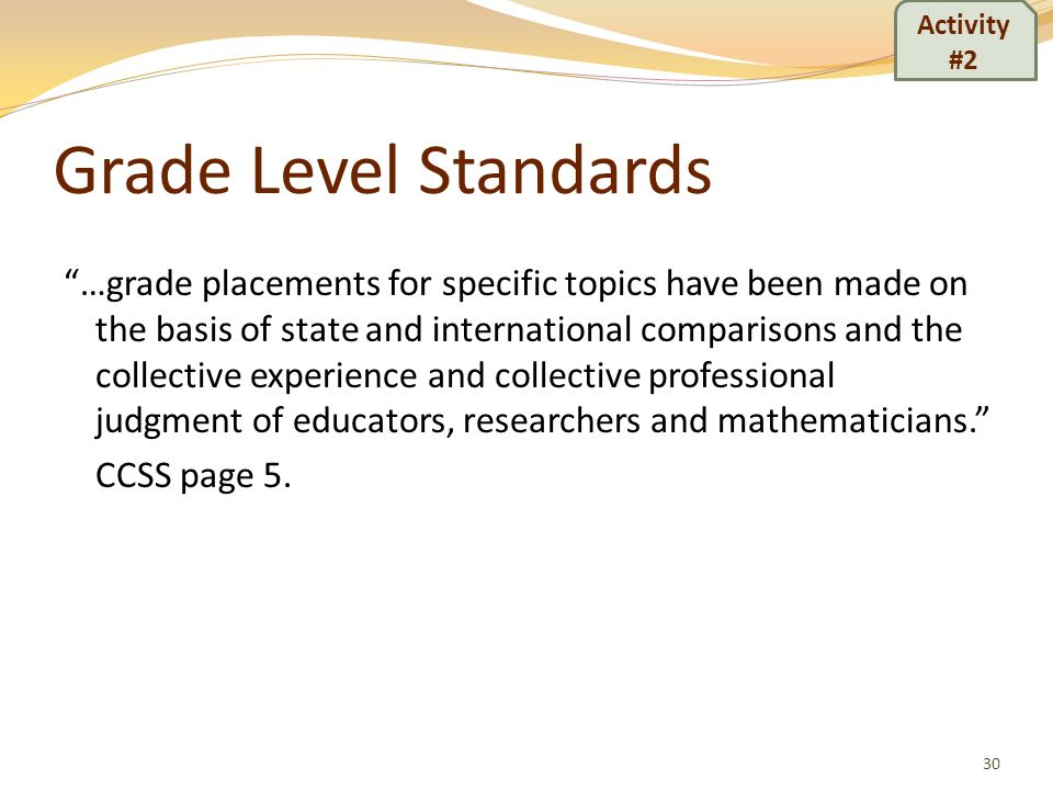 Activity #2 Grade Level Standards.