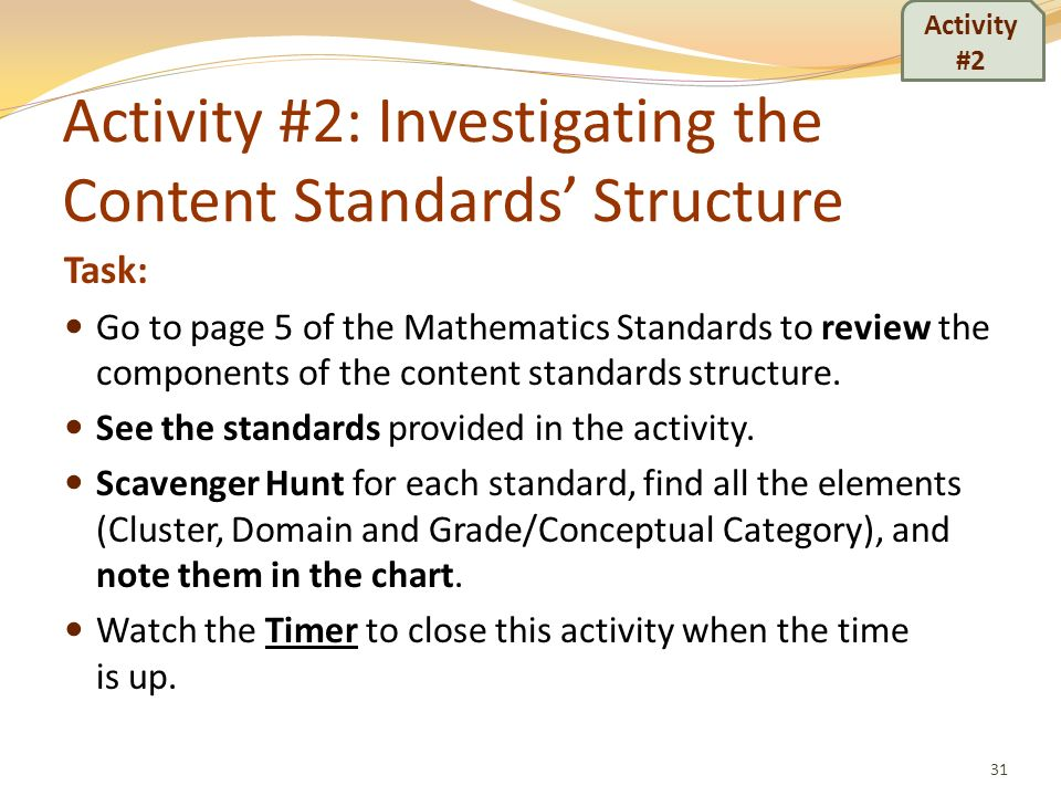 Activity #2: Investigating the Content Standards' Structure