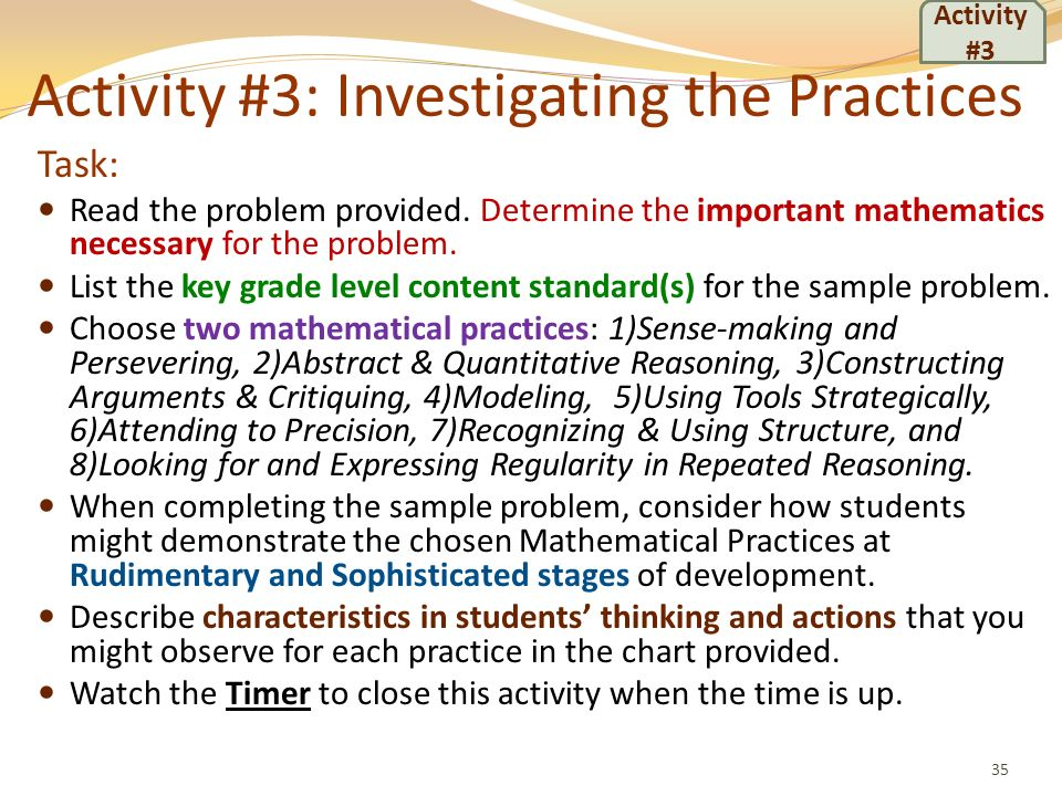 Activity #3: Investigating the Practices