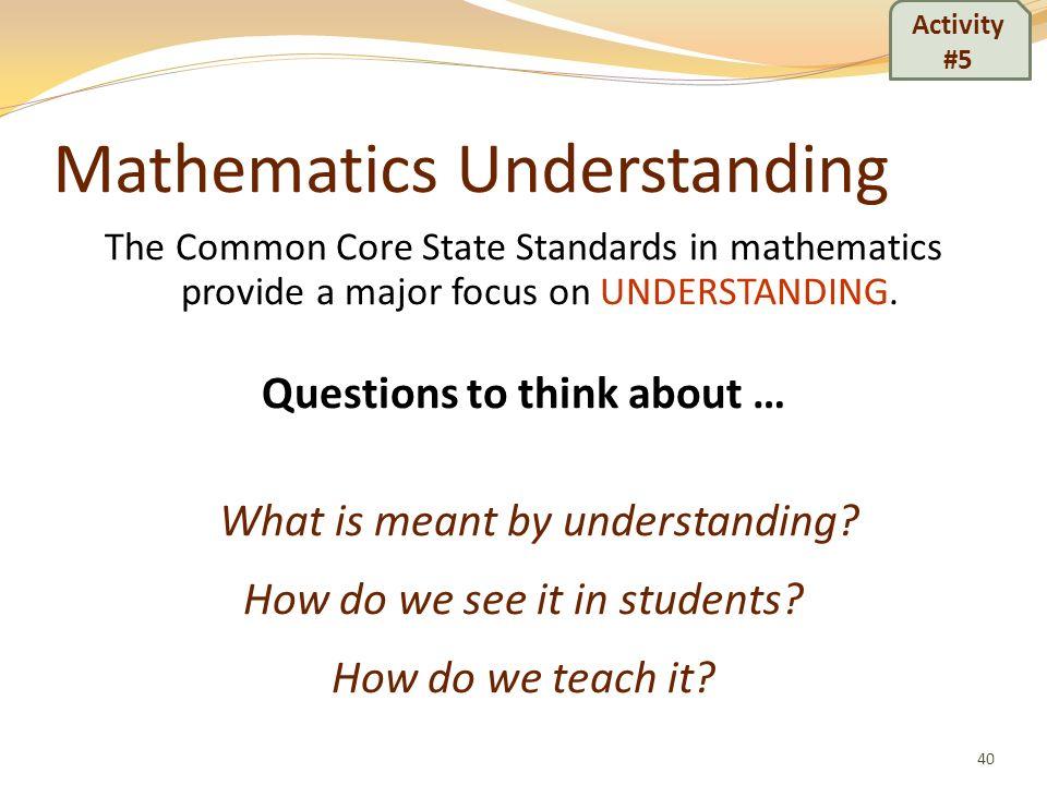 Mathematics Understanding
