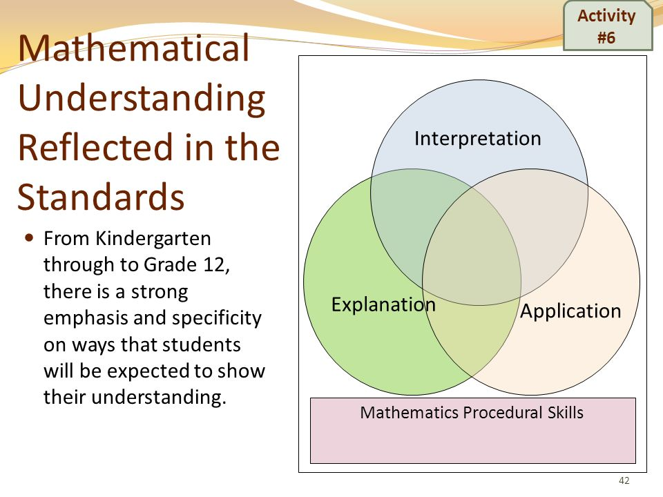 Mathematical Understanding Reflected in the Standards