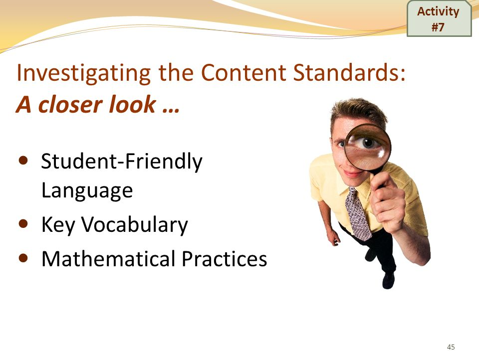 Investigating the Content Standards: A closer look …