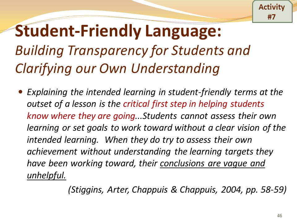 Activity #7 Student-Friendly Language: Building Transparency for Students and Clarifying our Own Understanding.