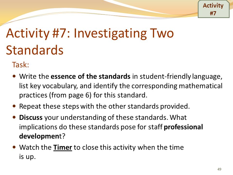 Activity #7: Investigating Two Standards