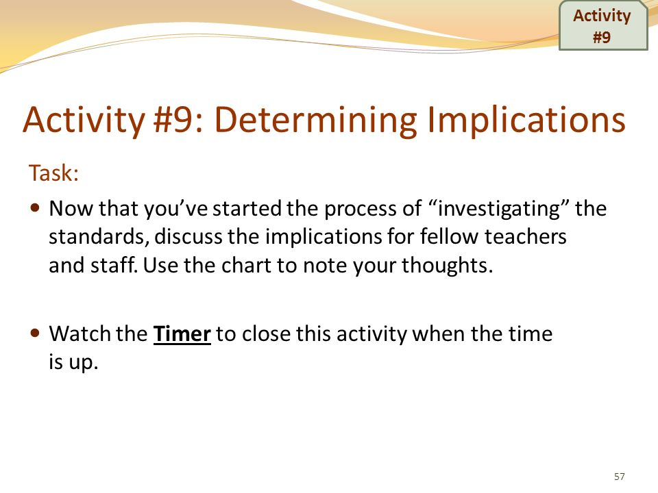 Activity #9: Determining Implications