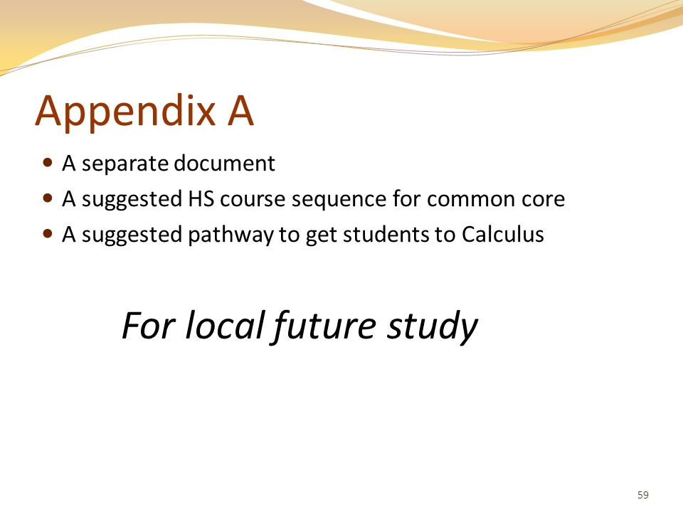 Appendix A For local future study A separate document