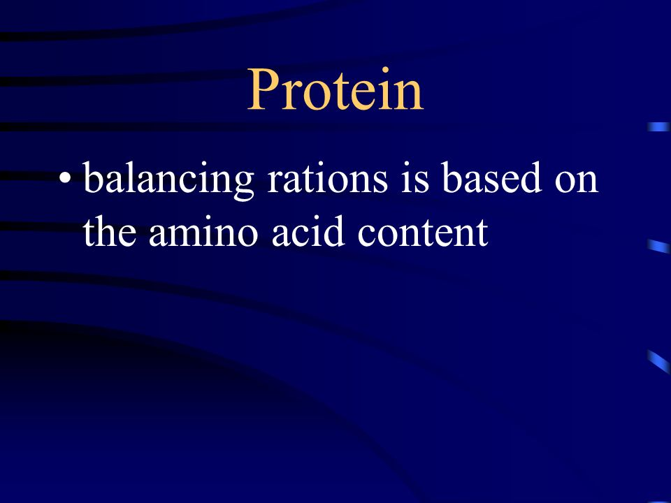 Protein balancing rations is based on the amino acid content