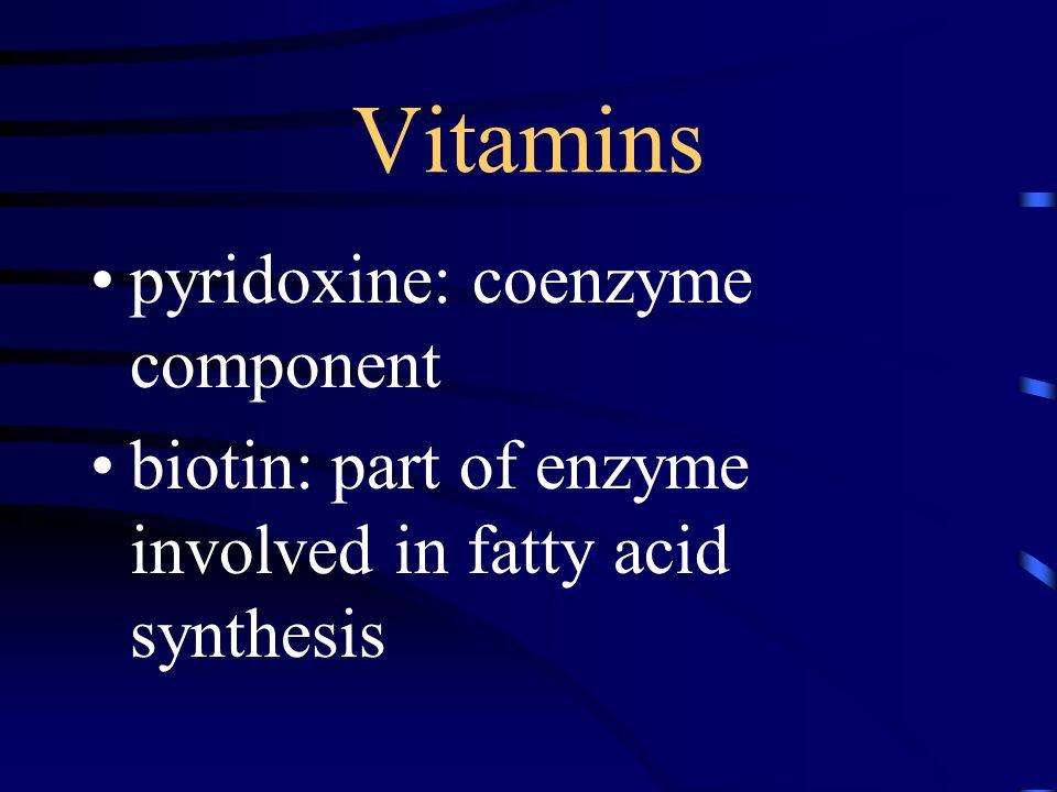 Vitamins pyridoxine: coenzyme component