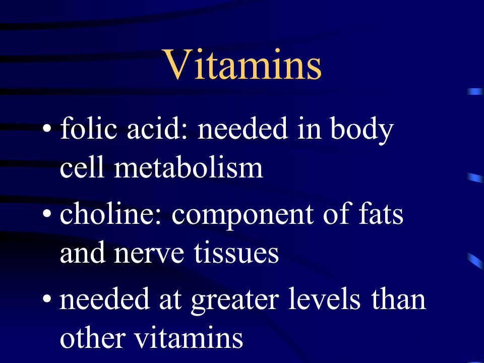 Vitamins folic acid: needed in body cell metabolism