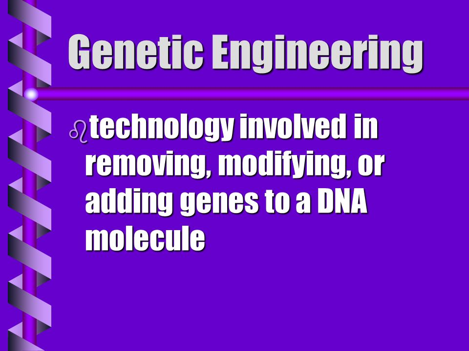 Genetic Engineering technology involved in removing, modifying, or adding genes to a DNA molecule