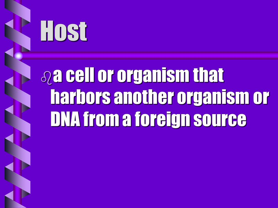 Host a cell or organism that harbors another organism or DNA from a foreign source