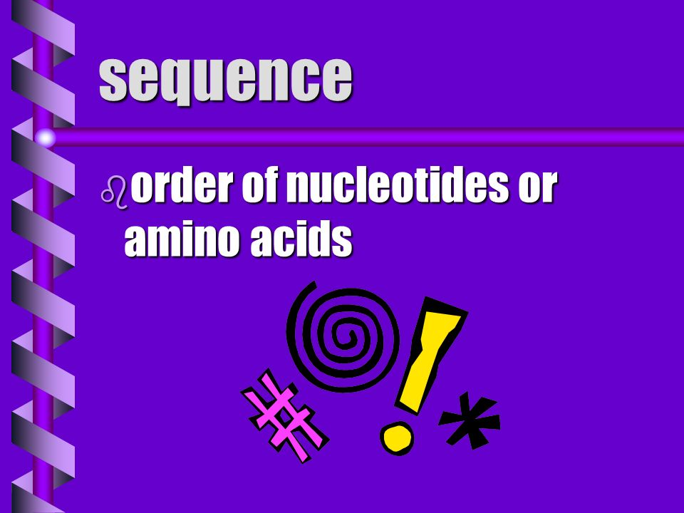 sequence order of nucleotides or amino acids