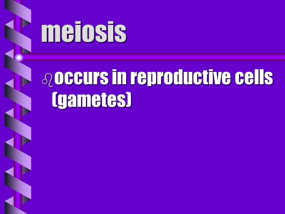 meiosis occurs in reproductive cells (gametes)