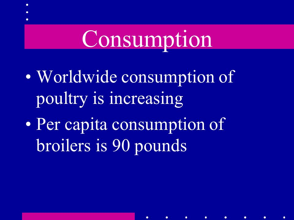 Consumption Worldwide consumption of poultry is increasing