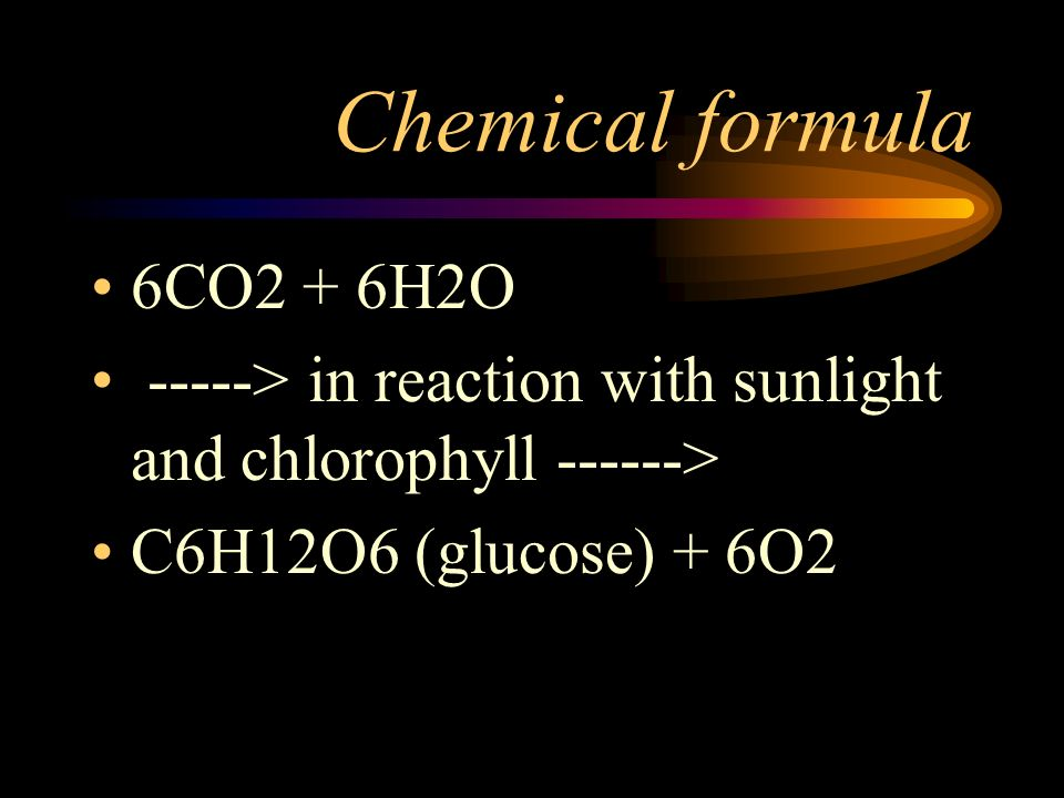 Chemical formula 6CO2 + 6H2O