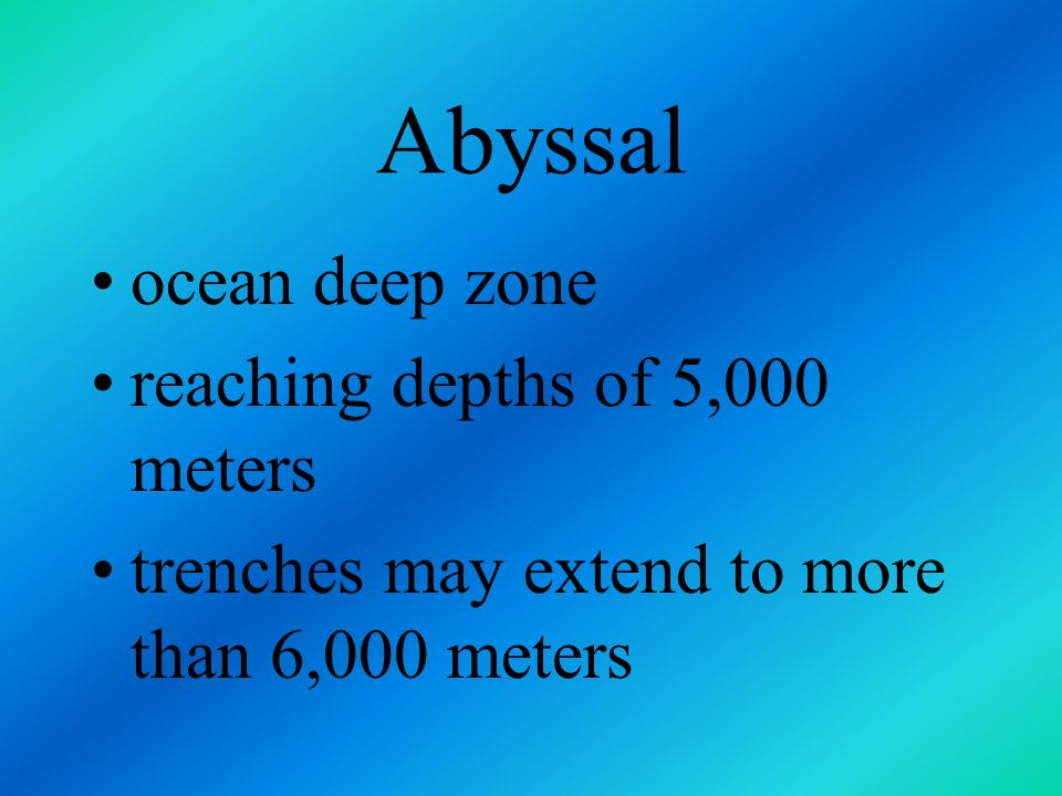 Abyssal ocean deep zone reaching depths of 5,000 meters