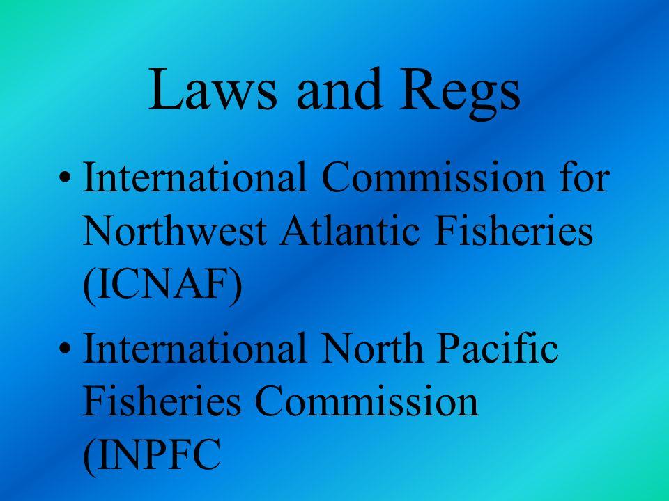 Laws and Regs International Commission for Northwest Atlantic Fisheries (ICNAF) International North Pacific Fisheries Commission (INPFC.