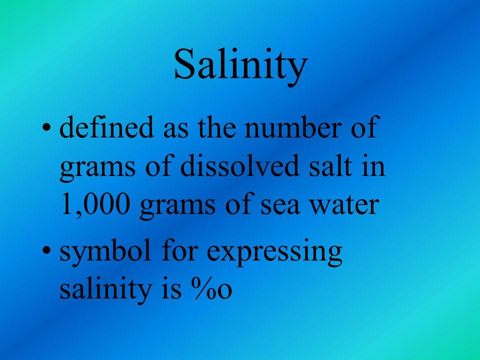 Salinity defined as the number of grams of dissolved salt in 1,000 grams of sea water.