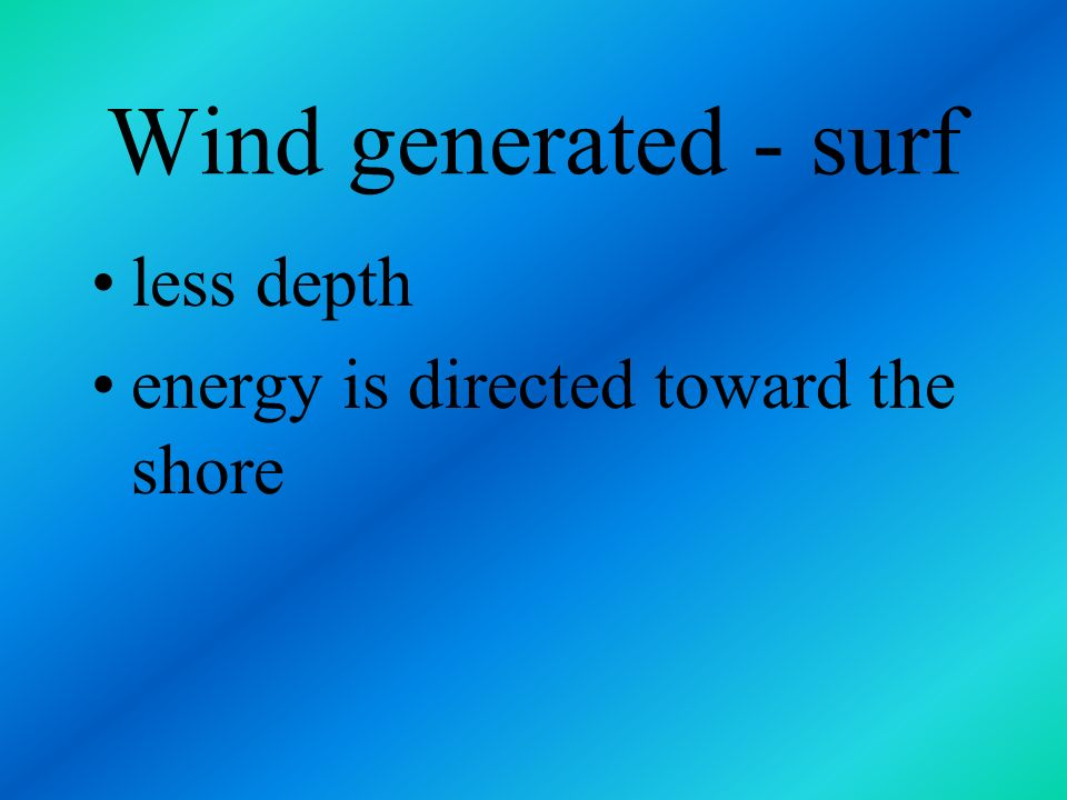 Wind generated - surf less depth energy is directed toward the shore