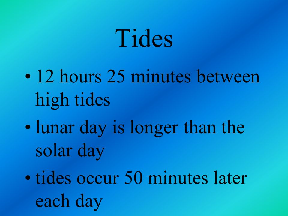 Tides 12 hours 25 minutes between high tides