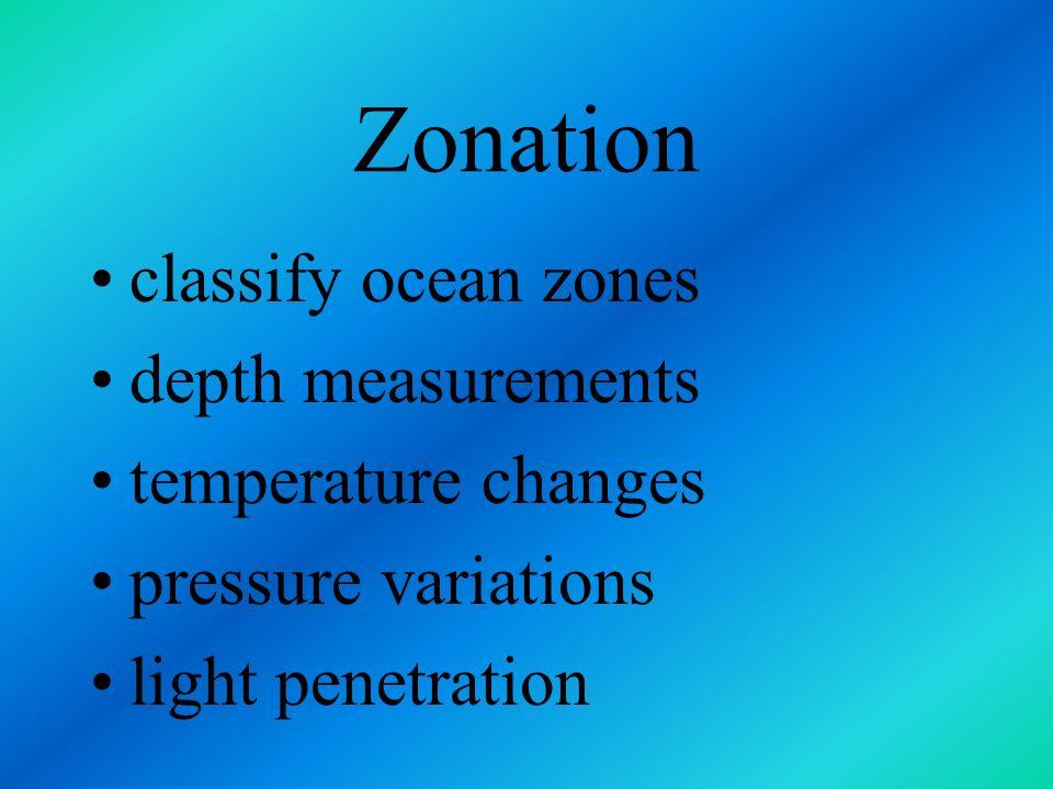 Zonation classify ocean zones depth measurements temperature changes