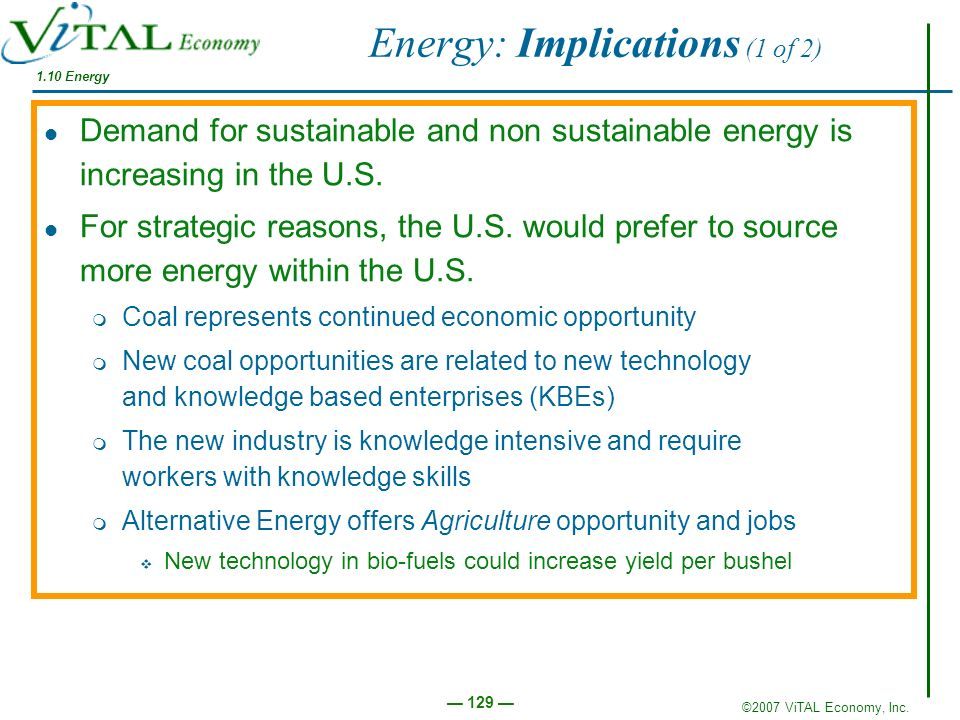 Energy: Implications (1 of 2)