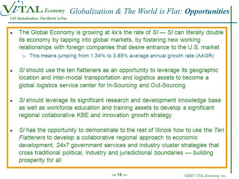 Globalization & The World is Flat: Opportunities