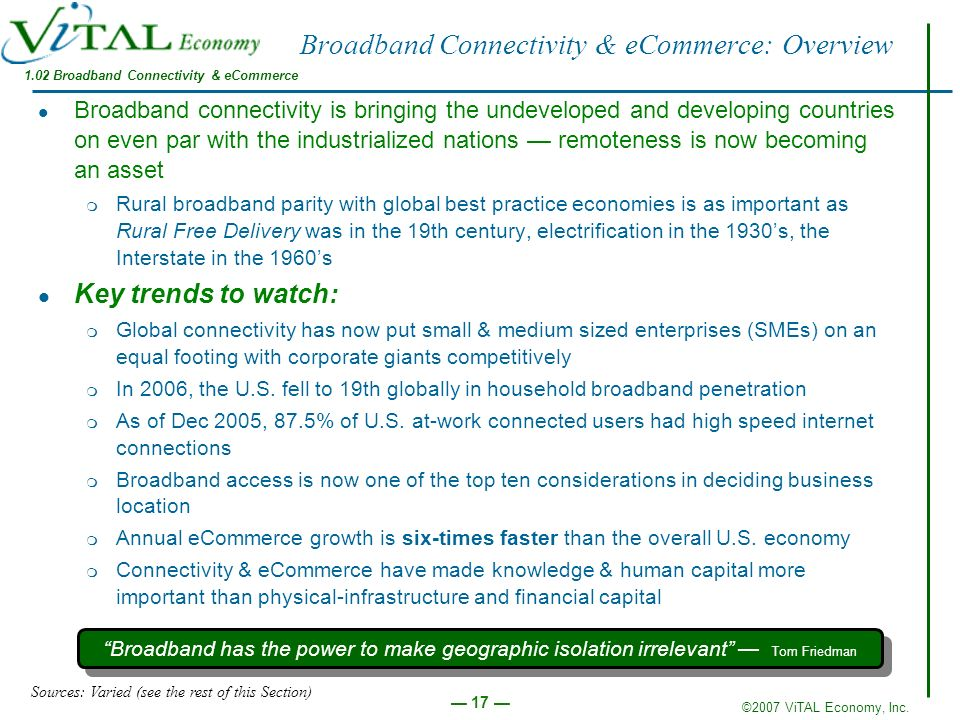 Broadband Connectivity & eCommerce: Overview