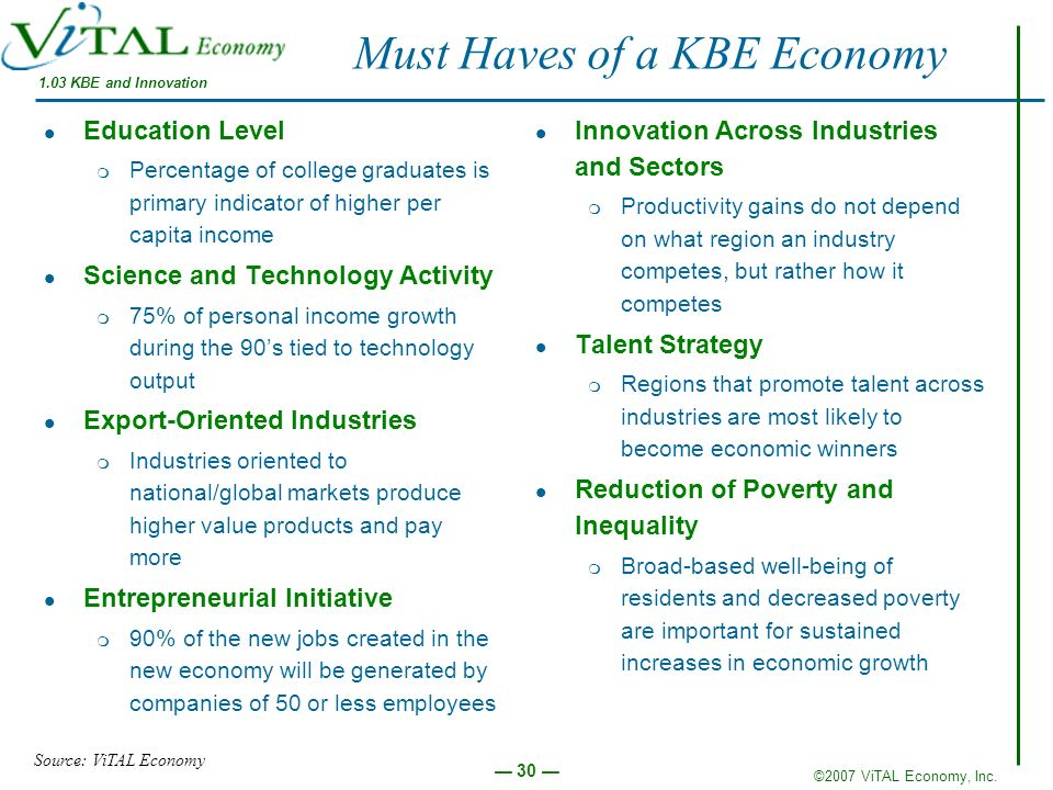 Must Haves of a KBE Economy