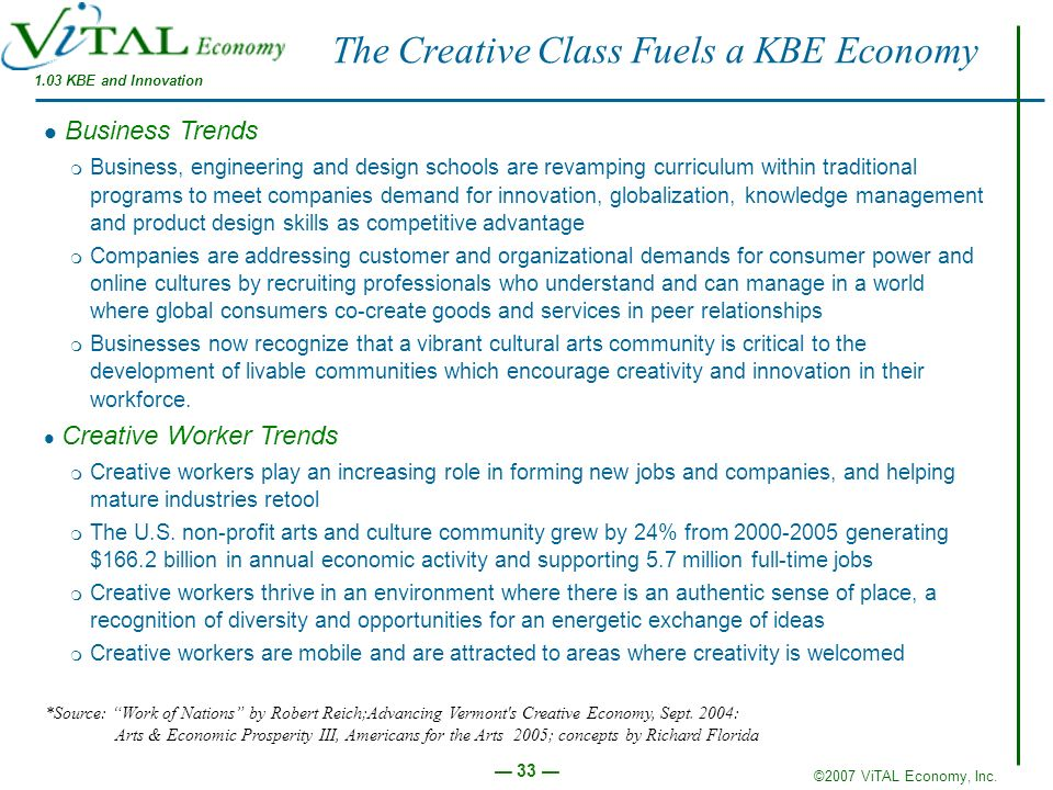 The Creative Class Fuels a KBE Economy