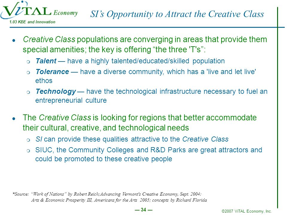 SI's Opportunity to Attract the Creative Class