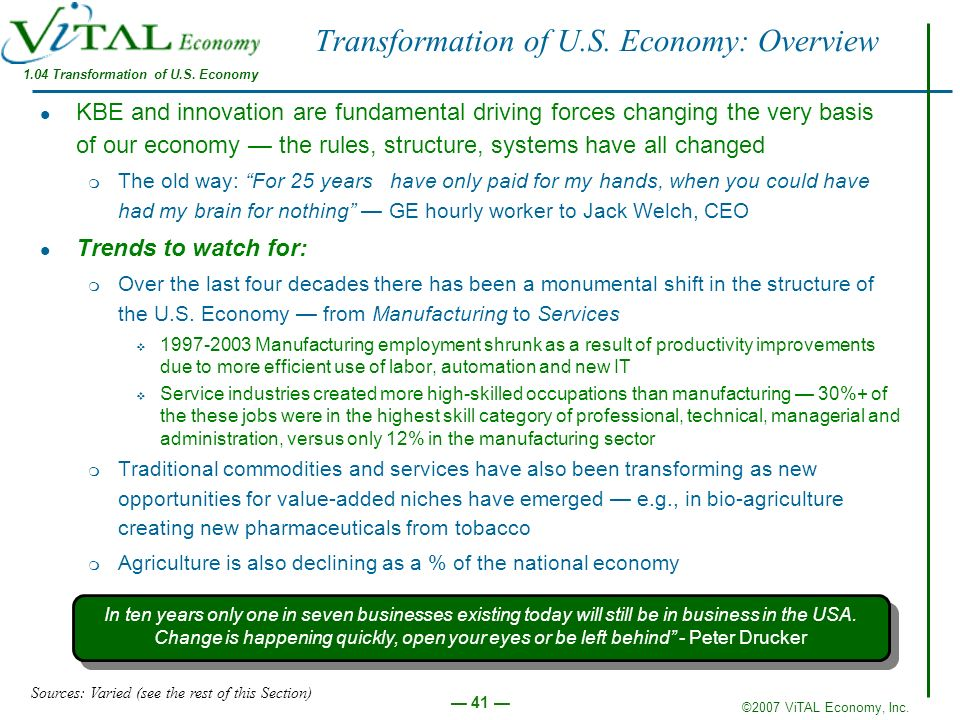 Transformation of U.S. Economy: Overview