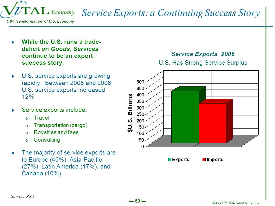 Service Exports: a Continuing Success Story