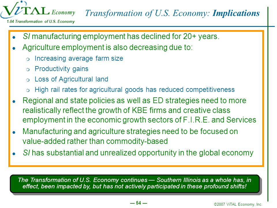 Transformation of U.S. Economy: Implications