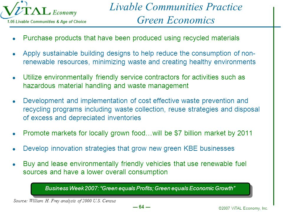 Livable Communities Practice Green Economics