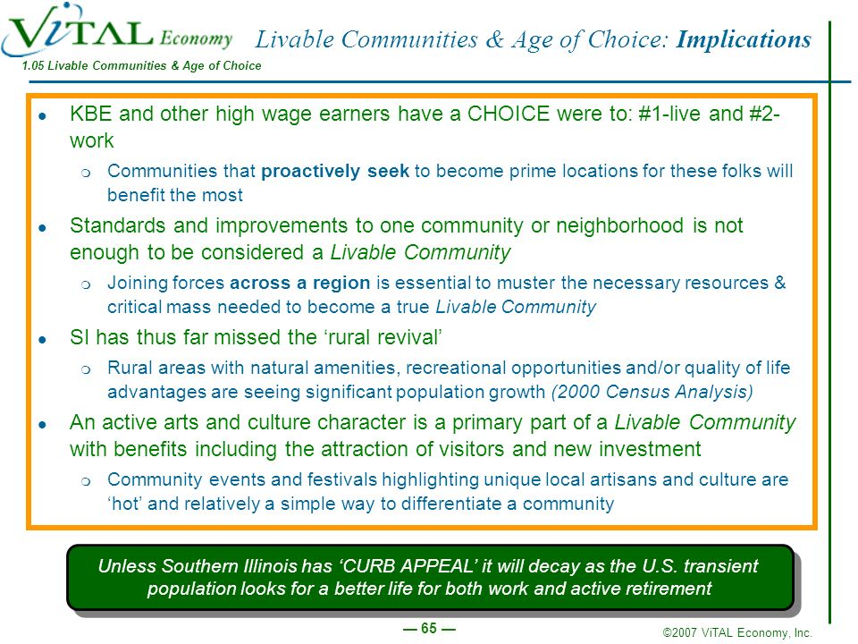Livable Communities & Age of Choice: Implications